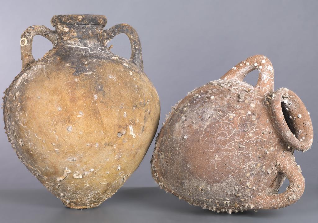 Amphores étrusques Py 3C simili, Cap Corse, IVe siècle av JC - Exposition Secrets d'épaves, 50 ans d'archéologie sous-marine en Corse au Musée d
