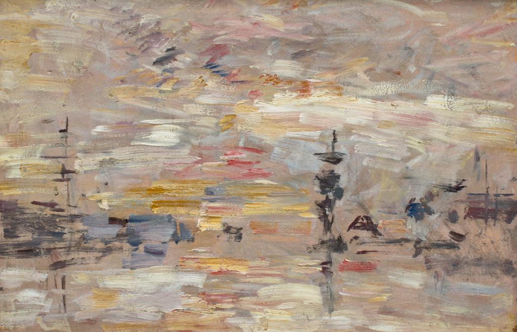 Eugène BOUDIN, Etude de ciel sur le bassin d'un port (Le Havre), 1888-1895, Impression(s) soleil levant, MUMA