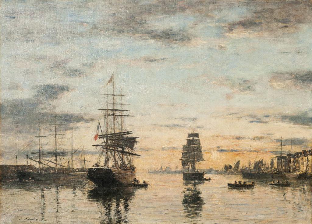 Eugène BOUDIN, Le Havre, l'avant-port au soleil couchant, 1882, Impression(s) soleil levant, MUMA