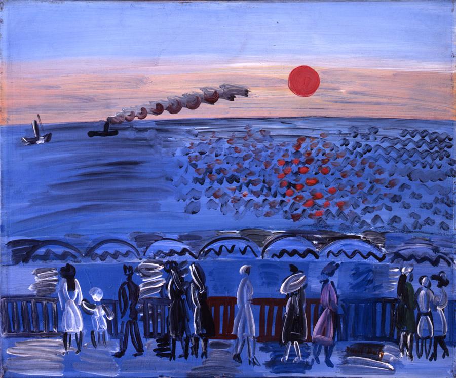 Raoul DUFY, Vue de la terrasse de Sainte-Adresse, soleil couchant, vers 1925, Impression(s) soleil levant, MUMA