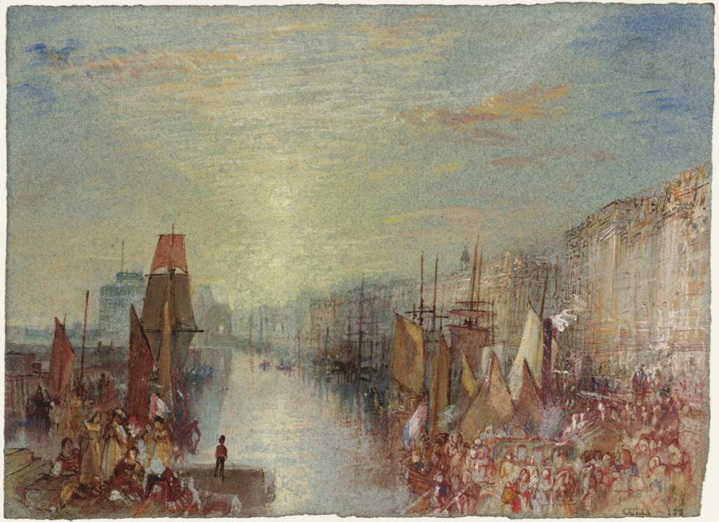 William TURNER, Coucher de soleil sur le port, vers 1832 pour Turner's Annual Tour, 1834, Impression(s) soleil levant, MUMA