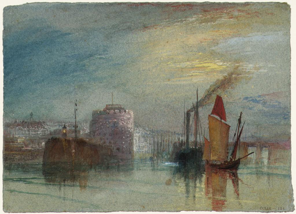 William TURNER, Le Havre : Tour François Ier, vers 1832 pour Turner's Annual Tour, 1834, Impression(s) soleil levant, MUMA