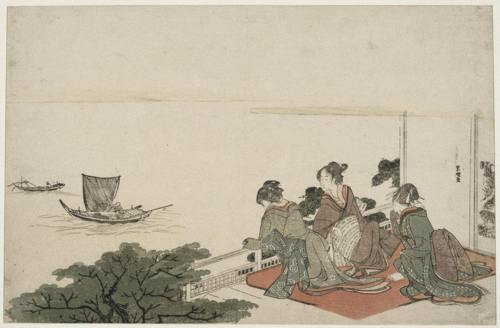 Hokusai Katsushika, Femmes contemplant une scène de pêche au filet, Paysages Japonais, Musée Guimet