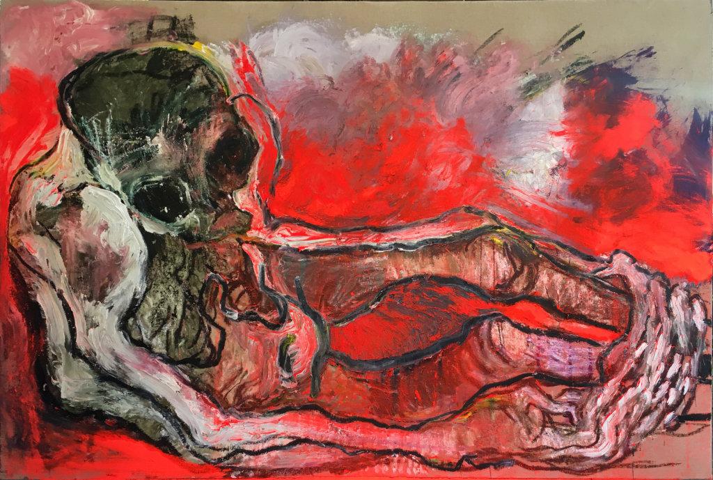 Lydie Arickx, Gisant, Huile et pigments sur papier marouflé, 200 x 135cm
