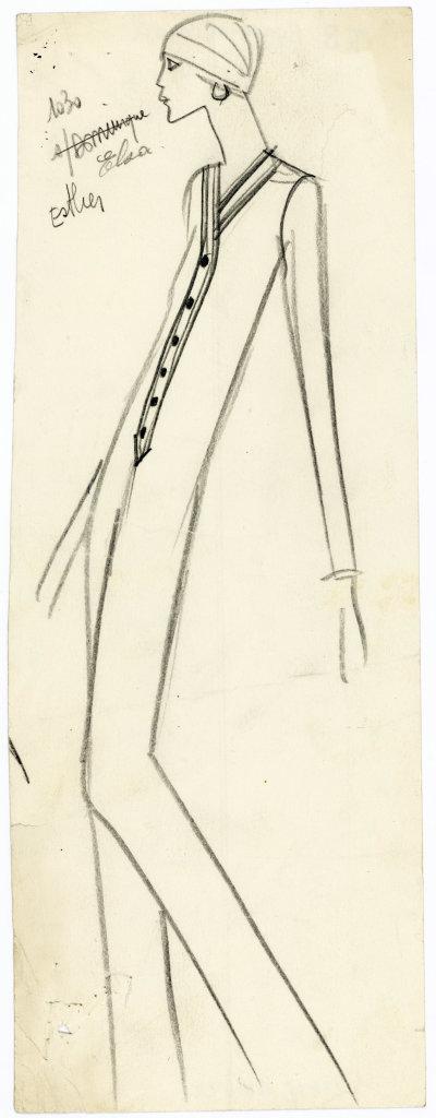 Yves Saint Laurent, Croquis original d'un jumpsuit, Collection haute couture automne-hiver 1969, musée Yves Saint Laurent