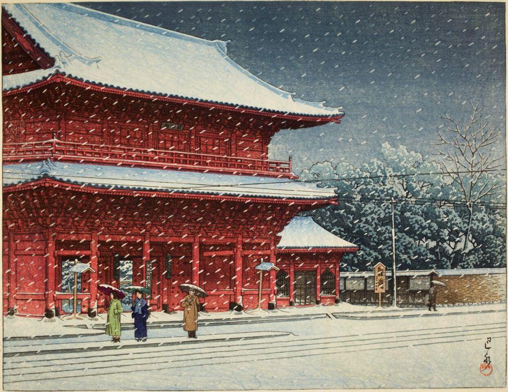 Kawase Hasui, Neige sur le temple Zôjôji (Shiba, Tokyo), Paysages japonais, Musée Guimet