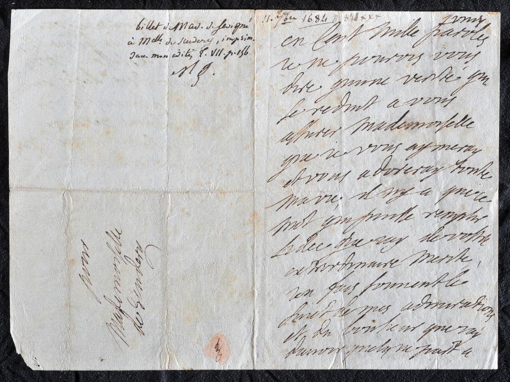 Madame de Sévigné, Lettre à Mademoiselle de Scudéry, 11 septembre 1684 - Exposition Madame de Sévigné, épistolière du Grand Siècle au Château de Grignan