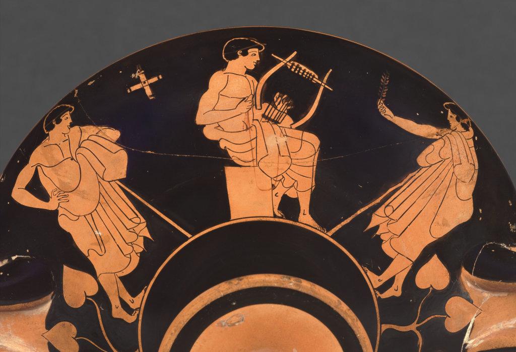 Coupe attique à figures rouges de Macron : Scène d'école Athènes 480-470 avant J.-C., Musique ! Louvre Lens