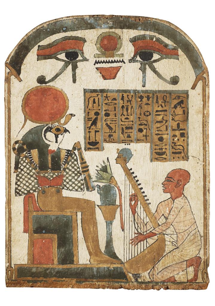 Stèle : le chanteur Djedkhonsouioufânkh jouant de la harpe devant Rê-Horakhty 945-715 avant J.-C., Musique ! Louvre Lens