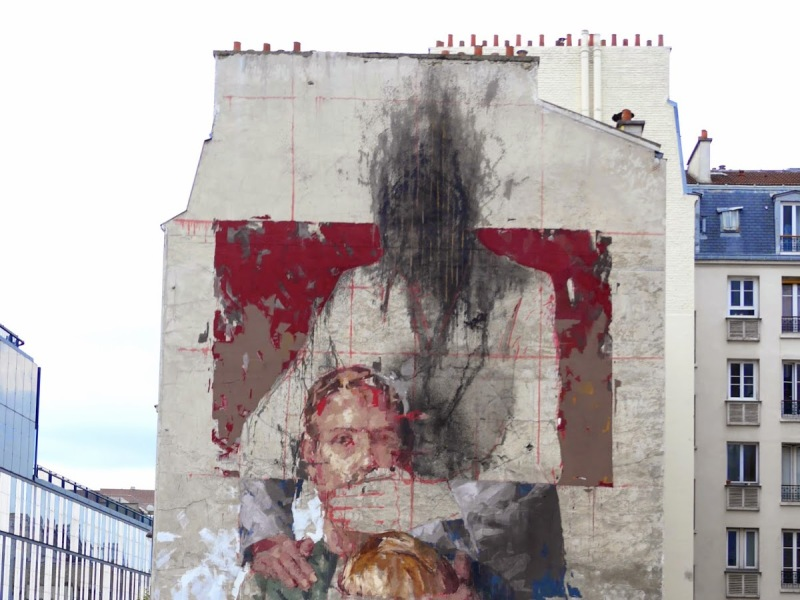 Nuit Blanche, street art, Borondo, les trois âges, expo in the city