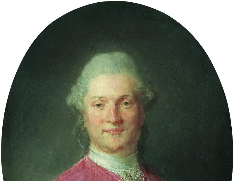 Perronneau Portrait d'un homme de face en habit et veste de soie rose