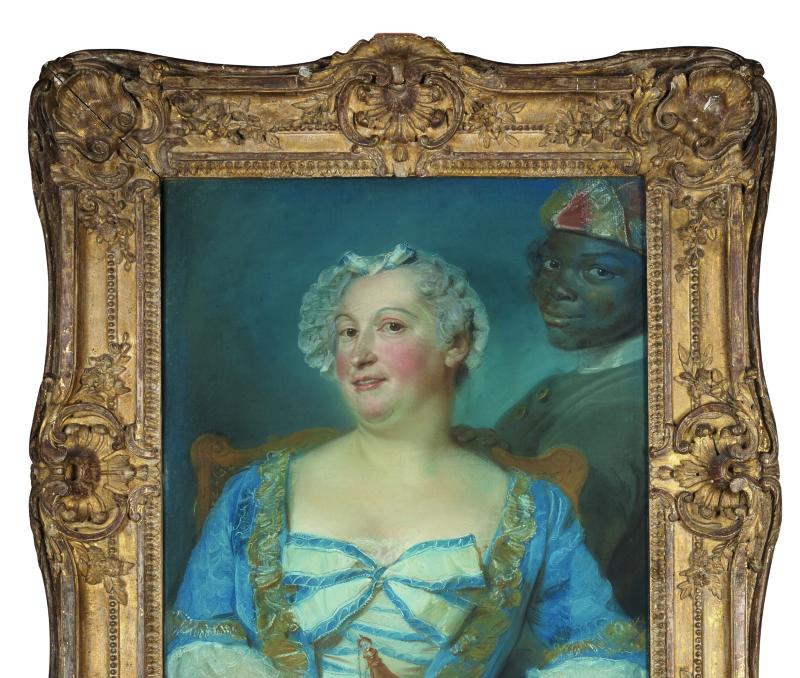 Portrait d'une femme en robe bleue et de son serviteur noir.