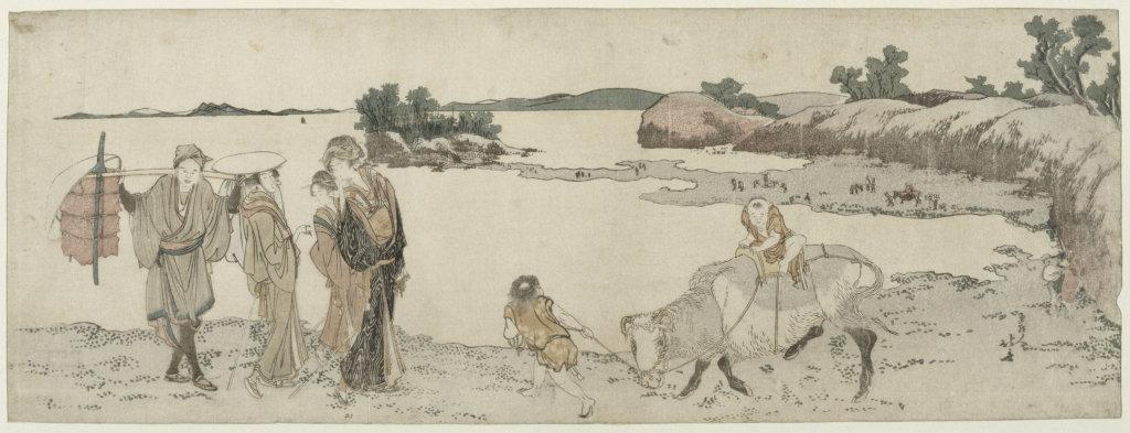 Katsushika Hokusai, Promenade le long de la rivière Sumida, Paysages japonais, Musée Guimet