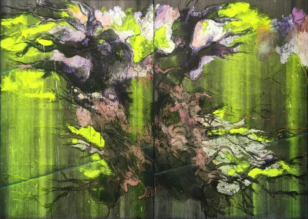 Lydie Arickx, Sans titre, Huile et pigments sur toile émeri, 400 x 300cm