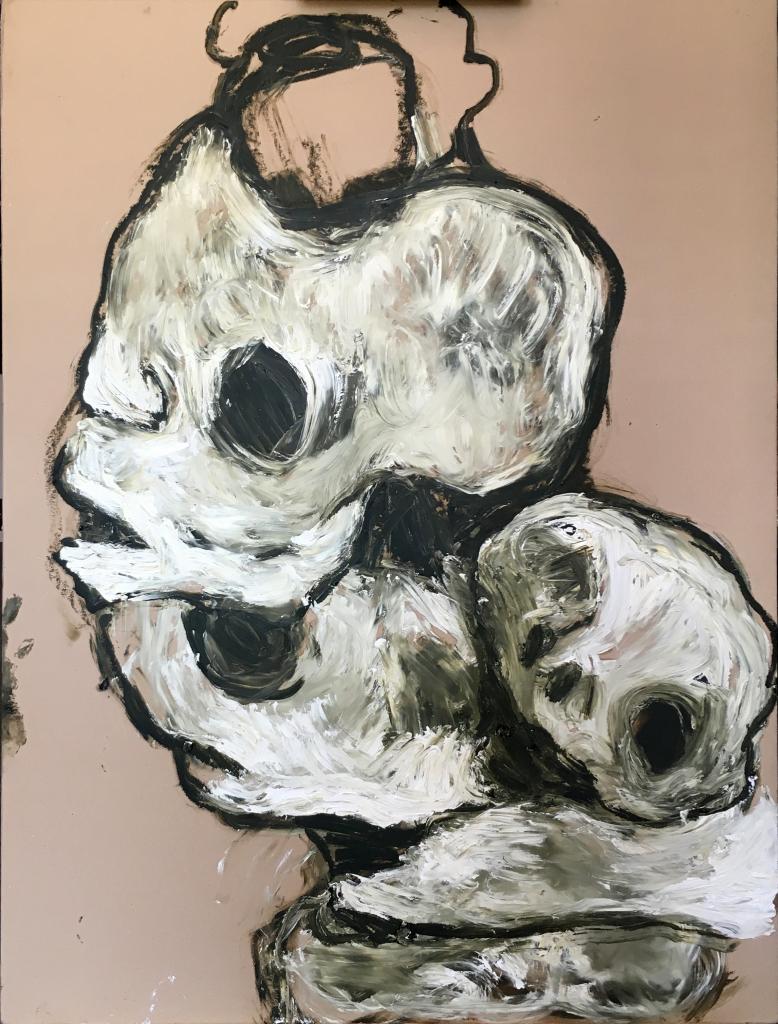 Lydie Arickx, Vanités II, Huile et pigments sur papier marouflé, 99 x 135 cm
