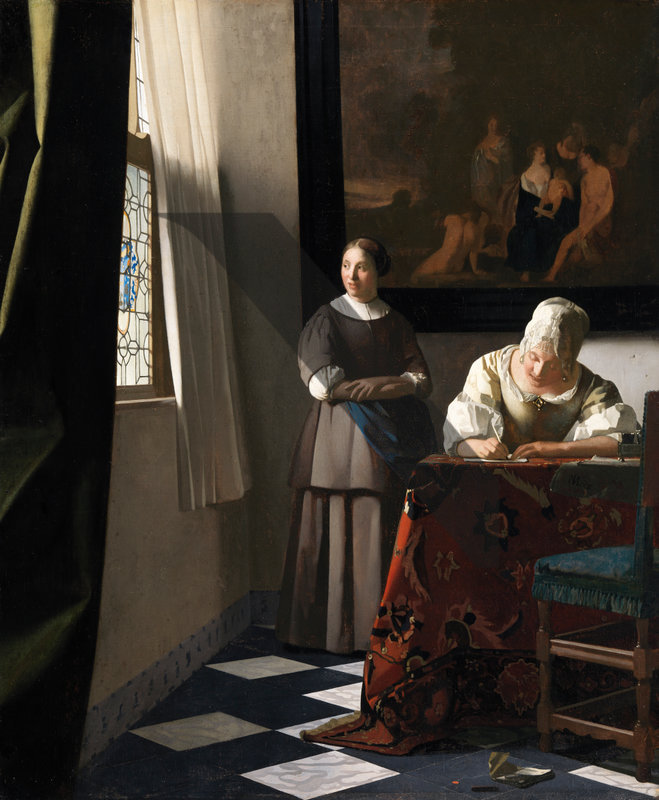 Woman Writing a Letter, with her Maid, Vermeer