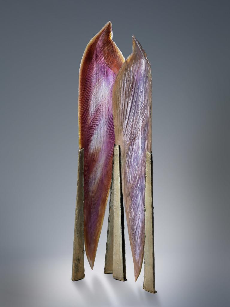 Udo Zembok Ecoute, 1997 Feuilles de verre fusionnées avec incrustations de pigments et minéraux, bronze