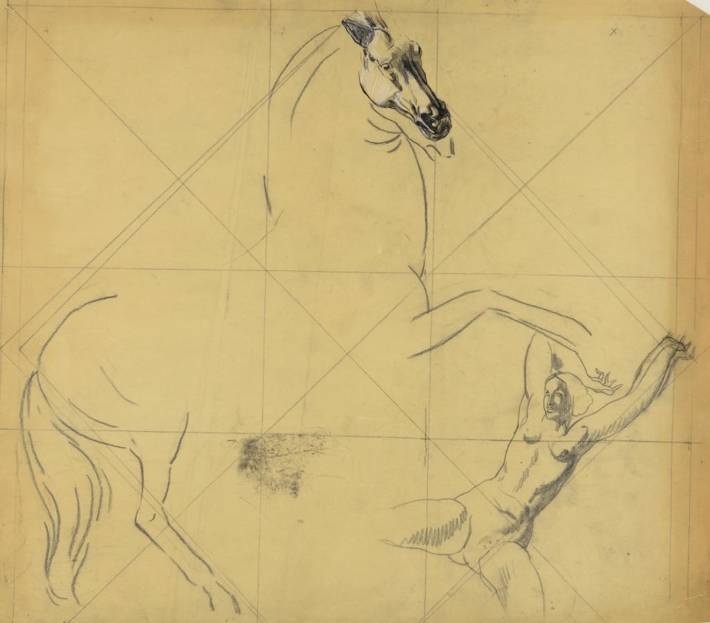 Robert Eugène Pougheon (1886 - 1955) Etude de composition pour le Serpent 1930