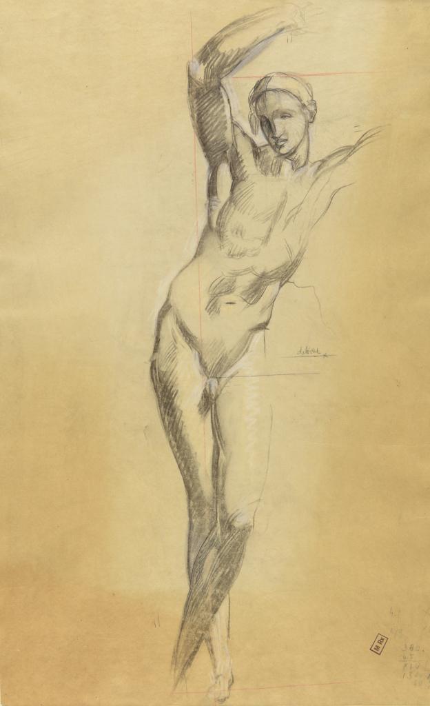Robert Eugène Pougheon (1886 - 1955) Etude de détail pour les Dioscures, fantaisie en bleu et ocre : nu masculin debout 1939