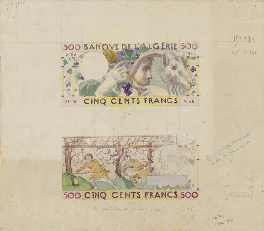 Robert Eugène Pougheon (1886 - 1955) Etude de billet de 500 francs pour la Banque de l'Algérie et de la Tunisie 1948