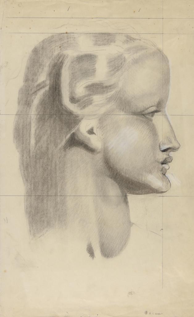 Robert Eugène Pougheon (1886 - 1955) Etude de détail pour les amazones au ruban bleu : tête du personnage féminin débout au centre 1926