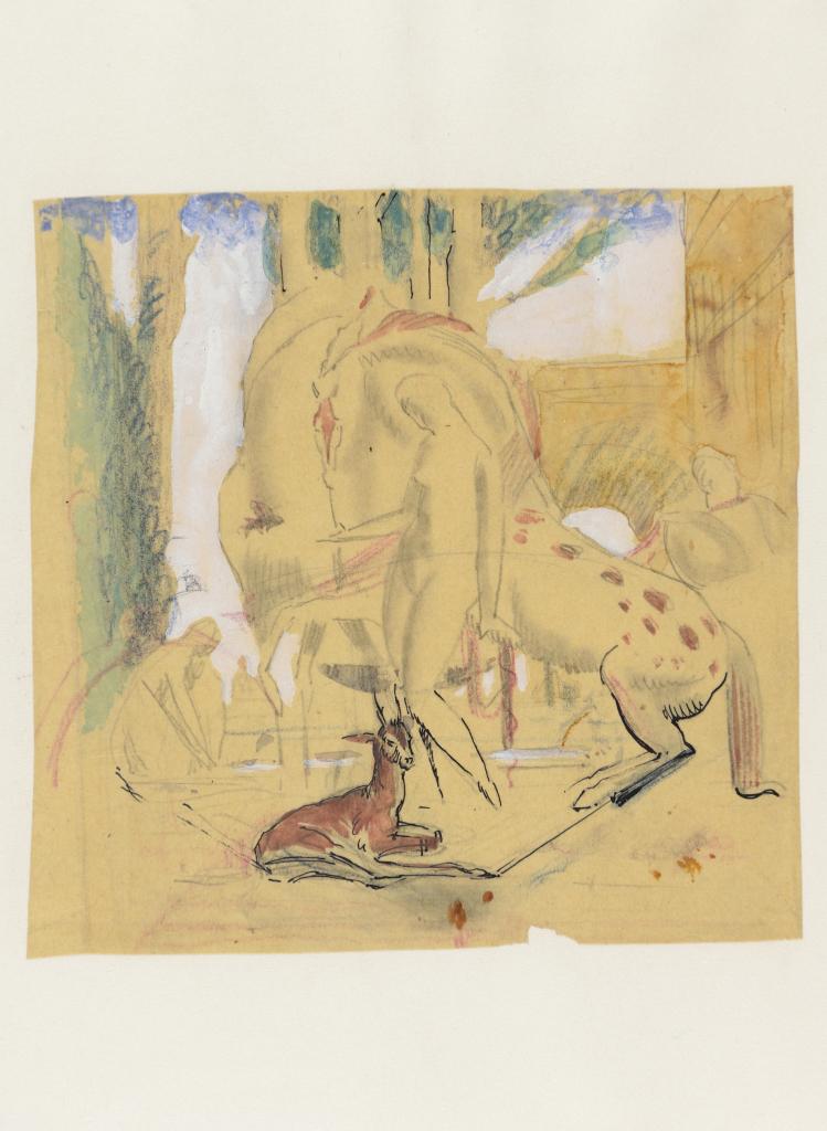 Robert Eugène Pougheon (1886 - 1955) Etude pour une composition aux amazones et à la gazelle