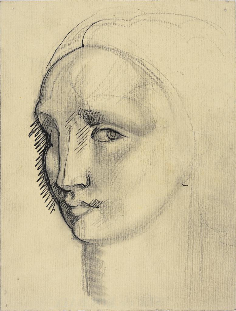 Robert Eugène Pougheon (1886 - 1955) Etude de détail pour En robes de soie dans la foret : tête du personnage féminin à droite 1927