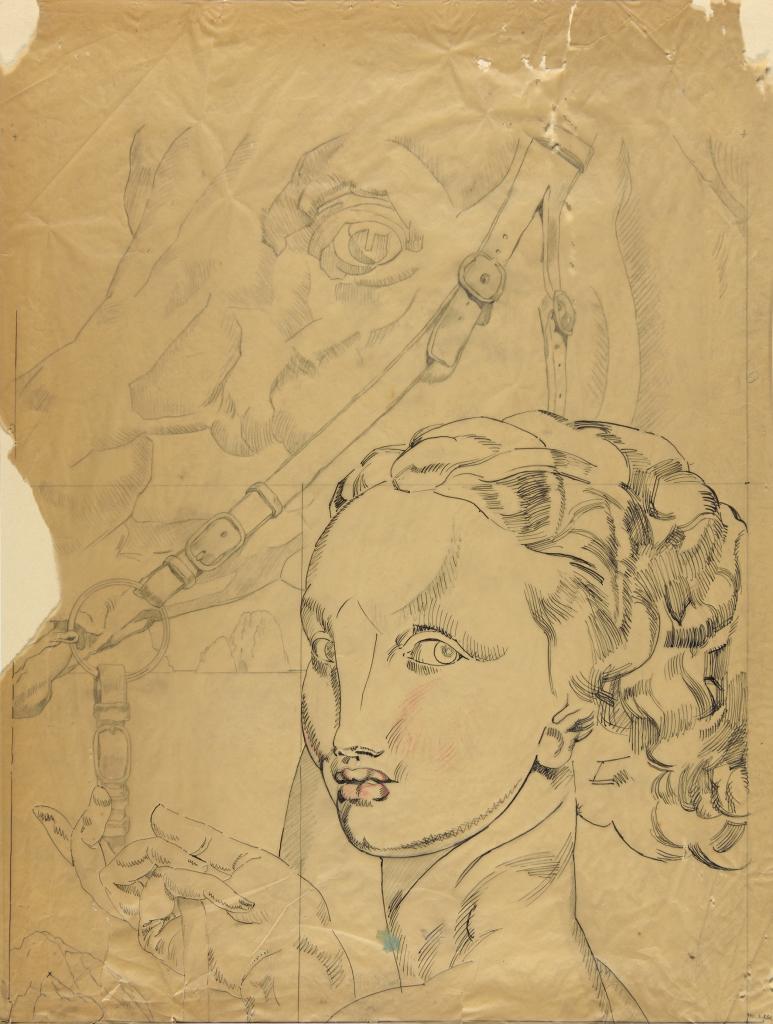 Robert Eugène Pougheon (1886 - 1955) Etude pour une composition à la tête de cheval