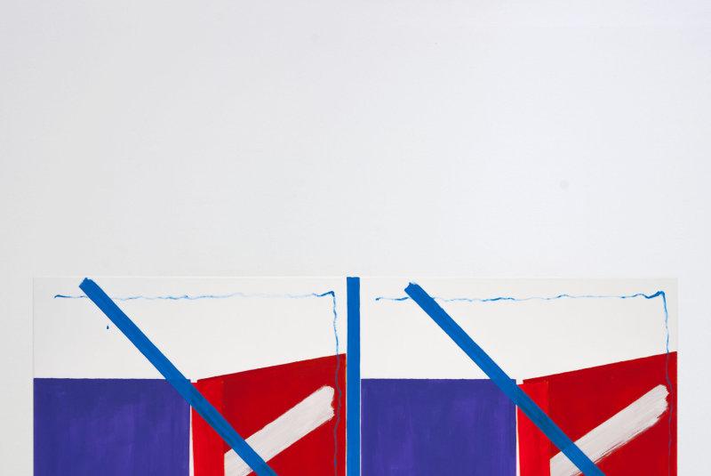 Le « système Piffaretti », qui a fait son succès, est encore aujourd'hui au rendez-vous avec cette composition faite de deux panneaux jumeaux séparés verticalement. L'un est une tentative de copie de l'autre, mais la reproductibilité parfaite du geste créatif est une illusion et l'artiste le souligne ingénieusement  par la confusion créée entre original et imitation.