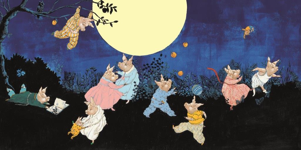 Dix cochons sous la lune, Carll Cneut, musée de l'illustration jeunesse, Moulin