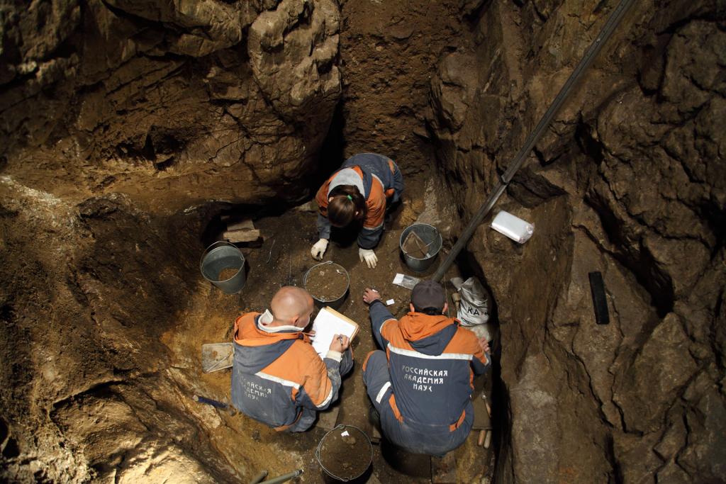 Fouille de la galerie est de la grotte de Denisova