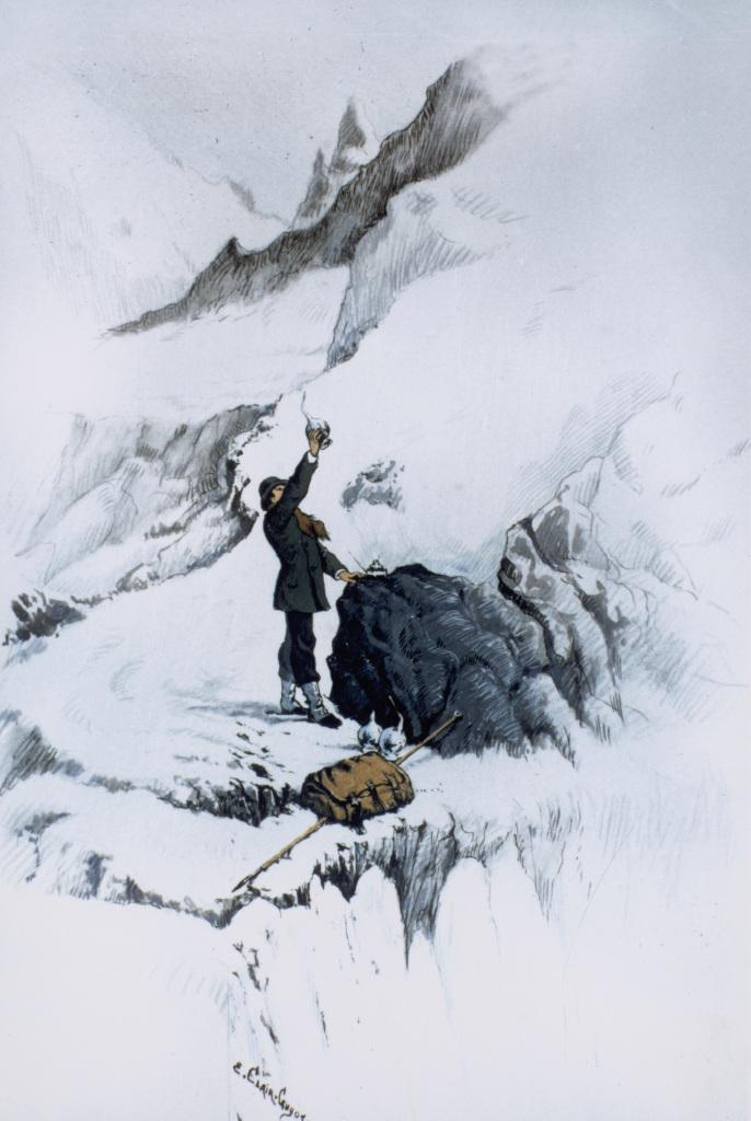 E. Clair-Guyot, Louis Pasteur sur la Mer de Glace (Alpes) testant des bouillons de culture en altitude - Exposition Pasteur, l'expérimentateur au Palais de la découverte