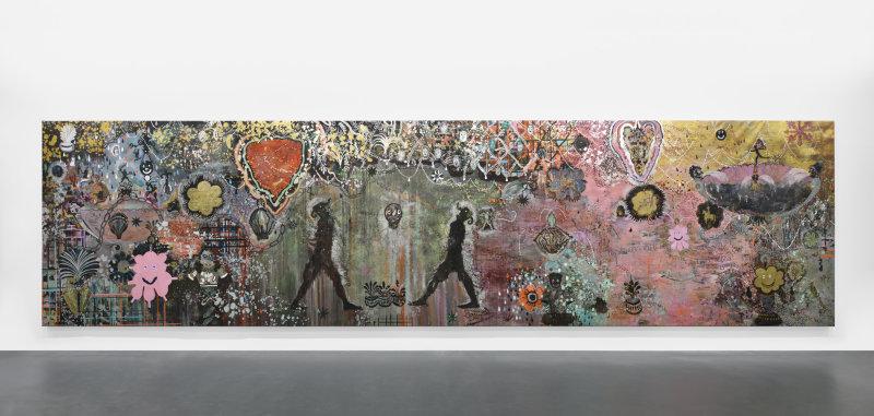 On pénètre l'univers d'Hélène Delprat d'un trait en suivant du regard cette fresque. Un mélange barriolé de couleurs, de motifs et de petits personnages.