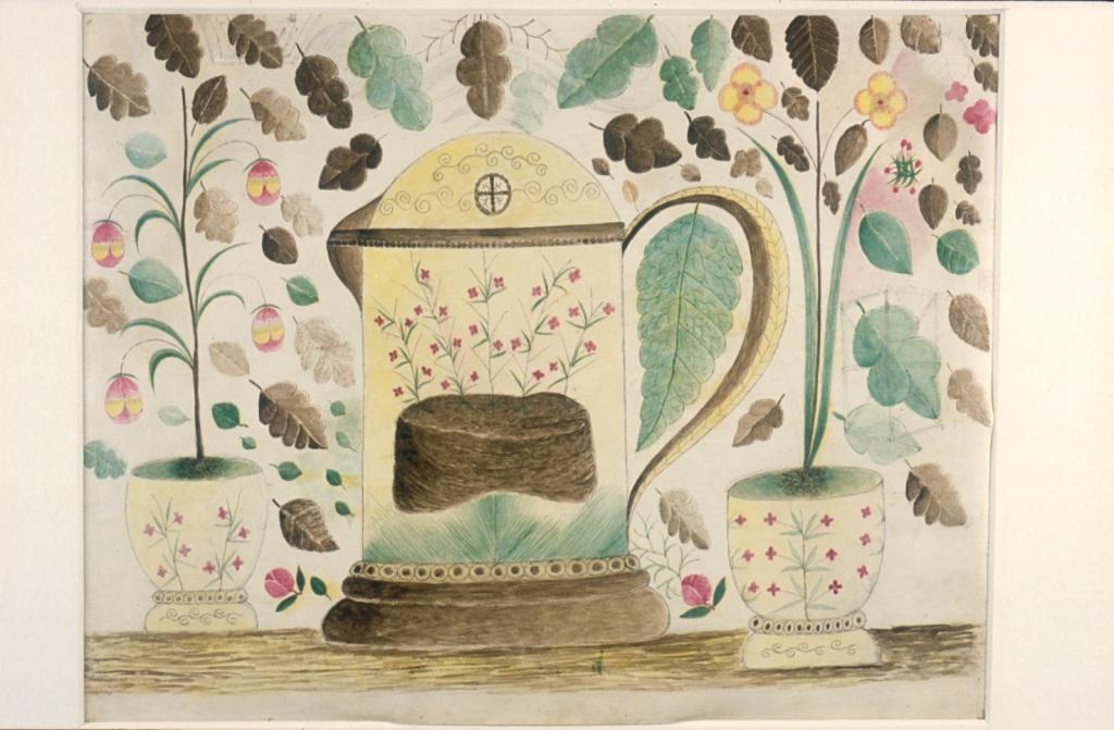Joseph Askew, Still life with Tankard and Pot Plants, aquarelle sur papier, 1868