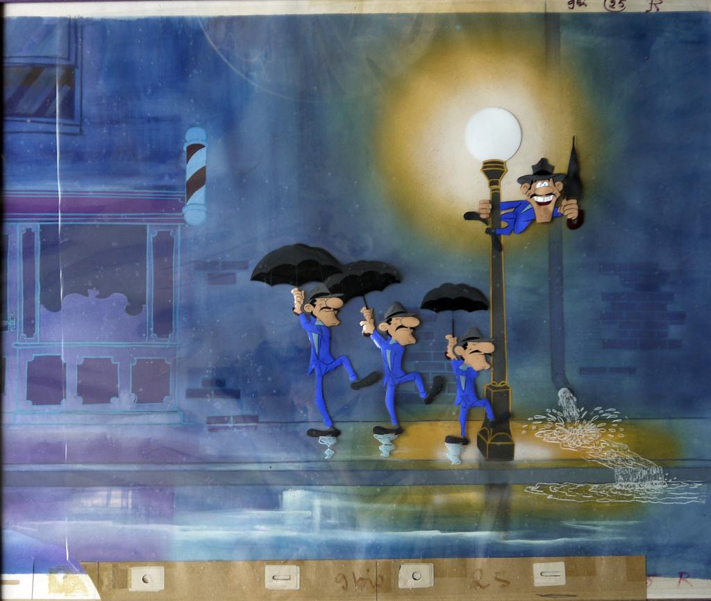 Cellulo. Dans La Ballade des Daltons (le rêve de Joe), en 1978, Goscinny et Morris transposent une scène de Chantons sous la pluie de Stanley Donen, 1952, Le cinéma de Goscinny, Cinémathèque Française