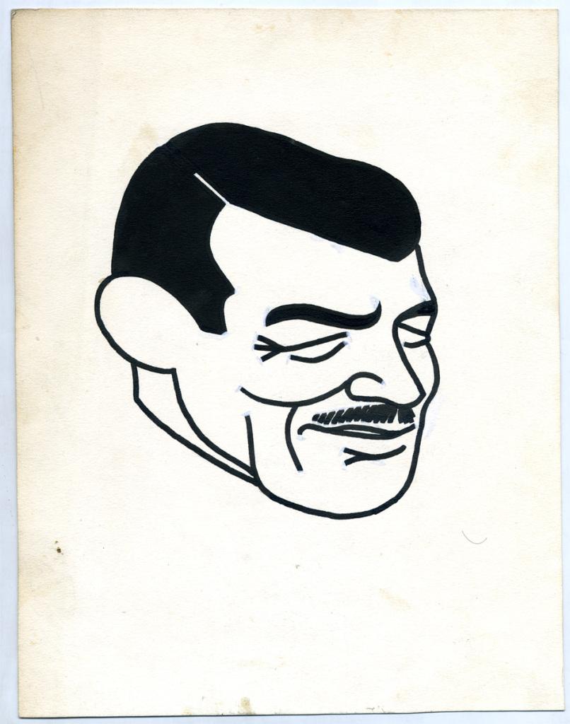 Clark Gable. Ces caricatures ont été dessinées par René Goscinny entre 1950 et 1954 pour l'hebdomadaire belge Le Moustique, Le cinéma de Goscinny, Cinémathèque Française