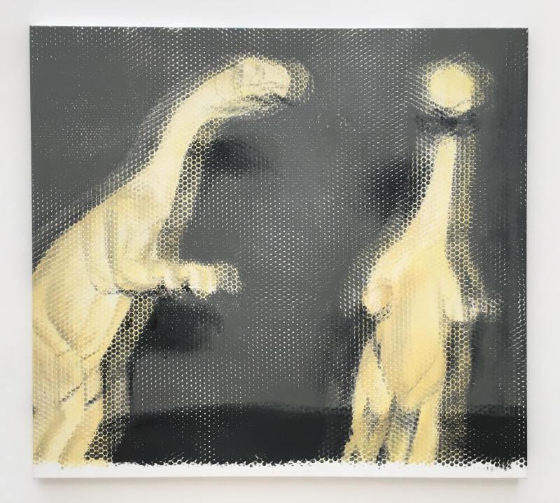 Michael Van den Abeele nous entraîne dans la Préhistoire à l'aide de motifs peints, tirés de la science-fiction, de la paléontologie et de l'exotisme.