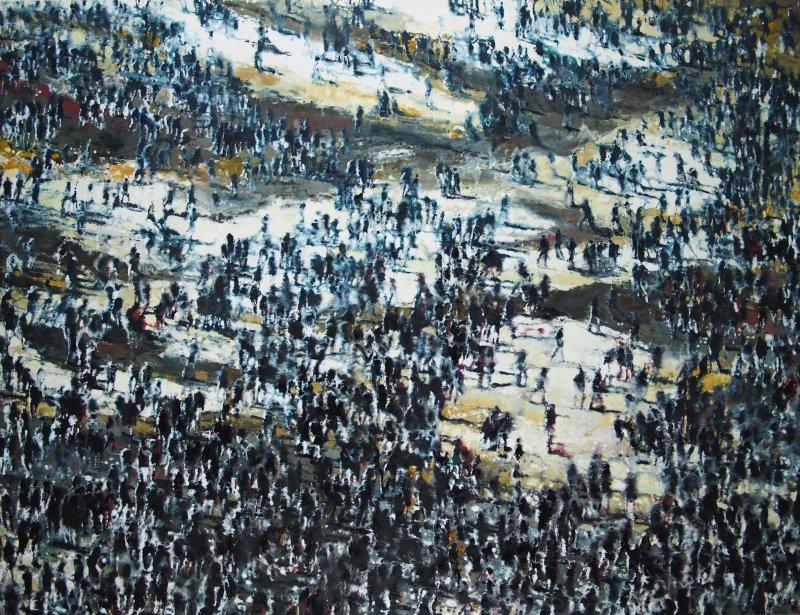 L'homme des foules pourrait être le nom de code de Philippe Cognée. Ses grandes toiles à la cire prennent pour sujet des formes humaines s'assemblant et se dispersant dans de vastes espaces.