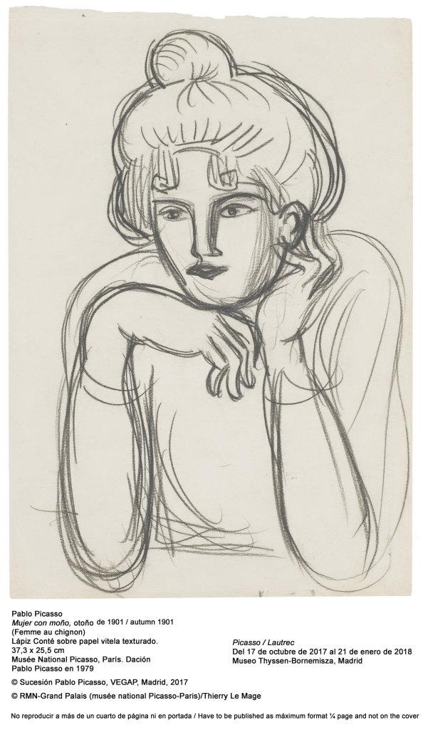 Pablo Picasso, Mujer con moño (Femme au chignon), 1901