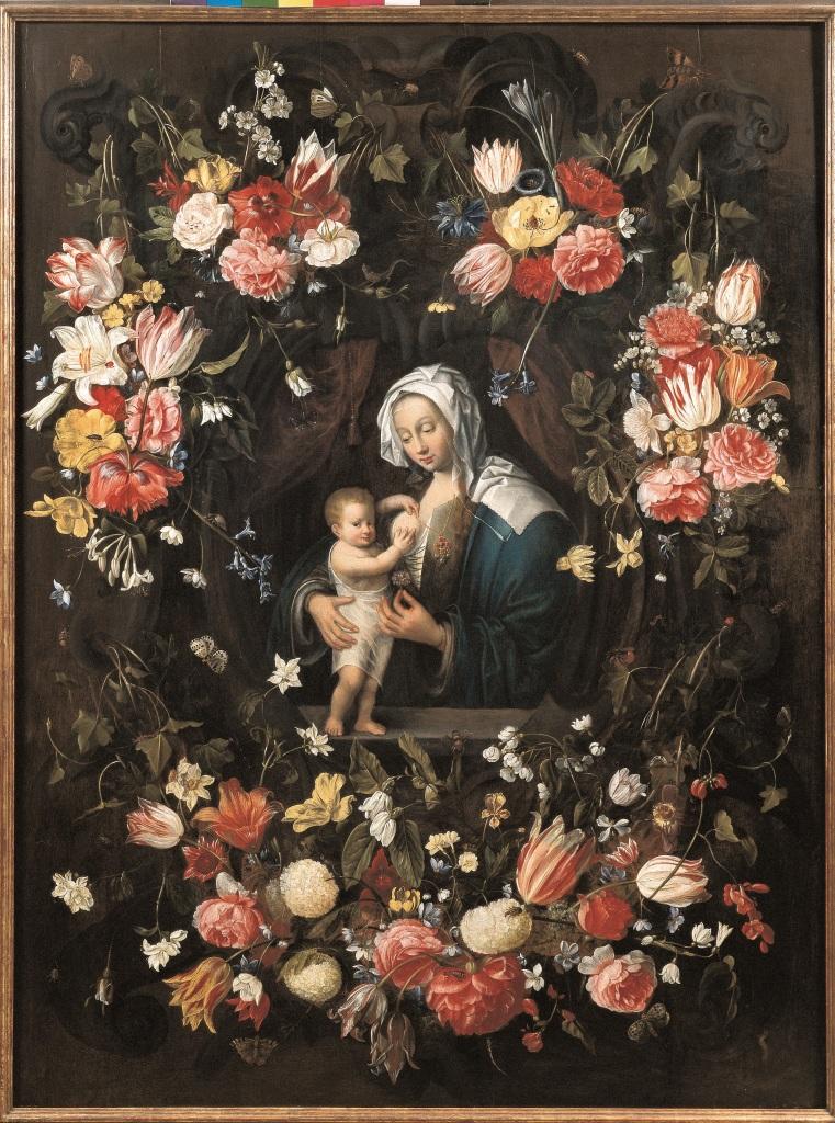 Jan van Kessel l'Ancien, Vierge à l'enfant dans une guirlande de fleurs Autour de 1654