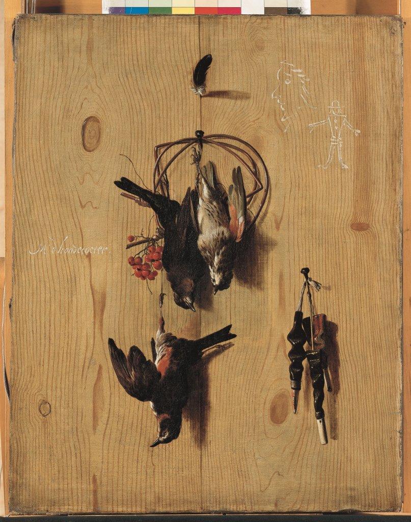 Melchior d'Hondecoeter (Utrecht 1636 – Amsterdam 1695) Trompe-l'œil aux grives