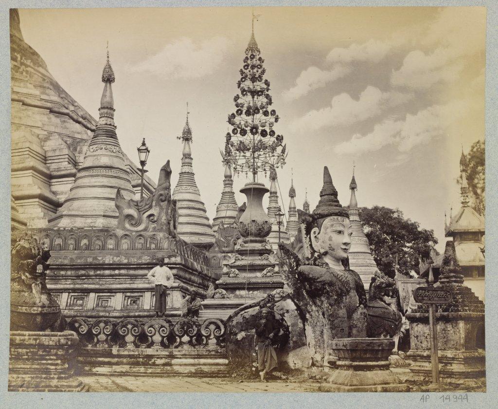 J. Jackson ou Philip Adolphe Klier, Sans titre, Le Coin sud-ouest de la Shwedagon, Yangon