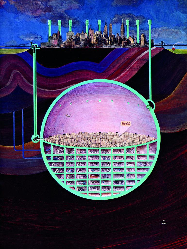 Nuke Proof Manhattan, Illustration de Jean Lagarrigue, Esquire, 1969