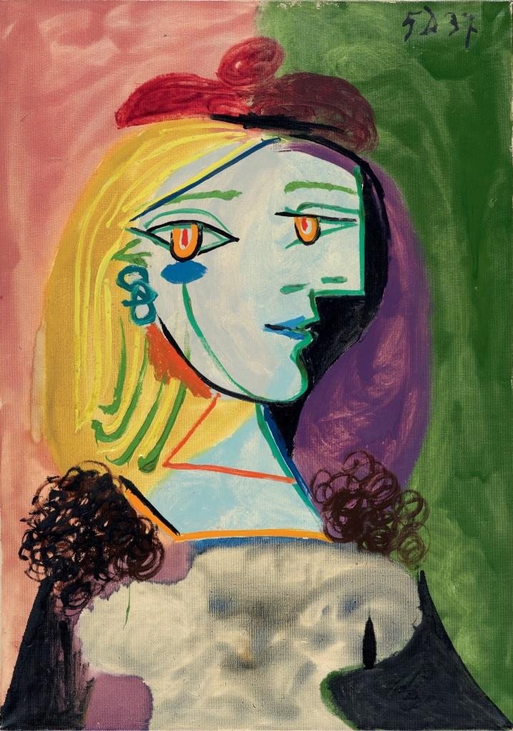 Pablo Picasso, Femme au béret rouge à pompon, 1937 - Exposition Picasso et Maya, Père et Fille à la Gagosian Gallery
