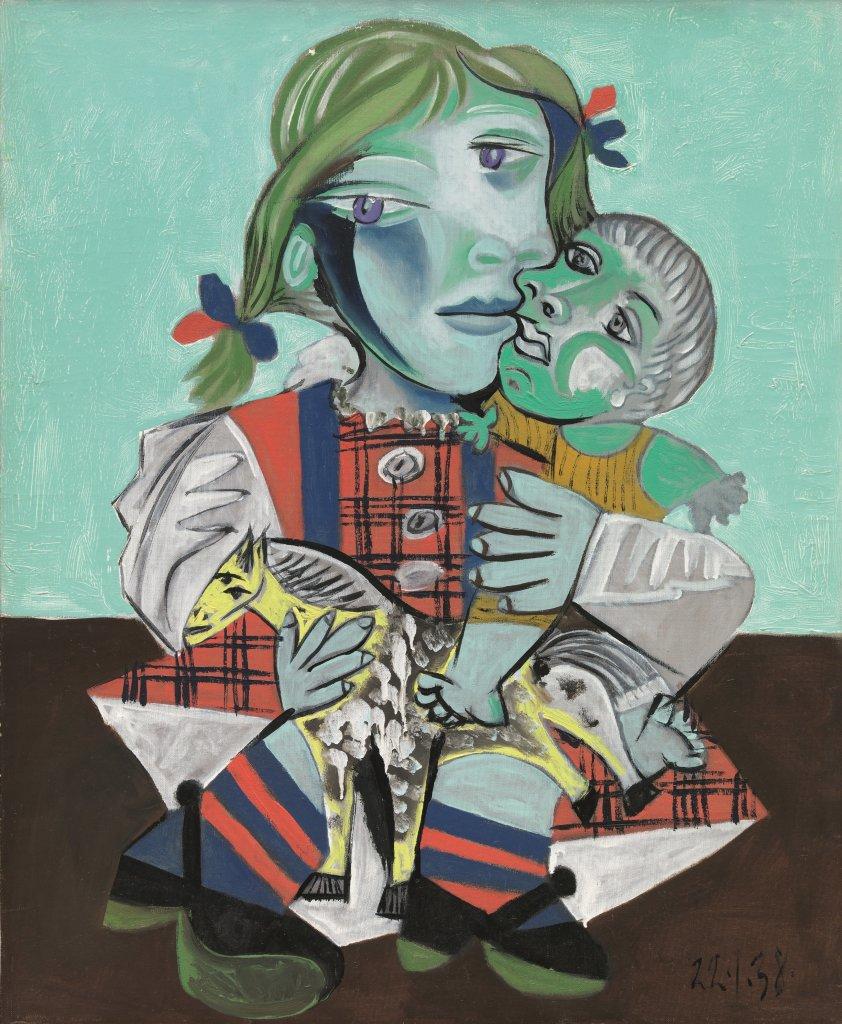 Pablo Picasso, Maya à la poupée et au cheval, 1938 - Exposition Picasso et Maya, Père et Fille à la Gagosian Gallery