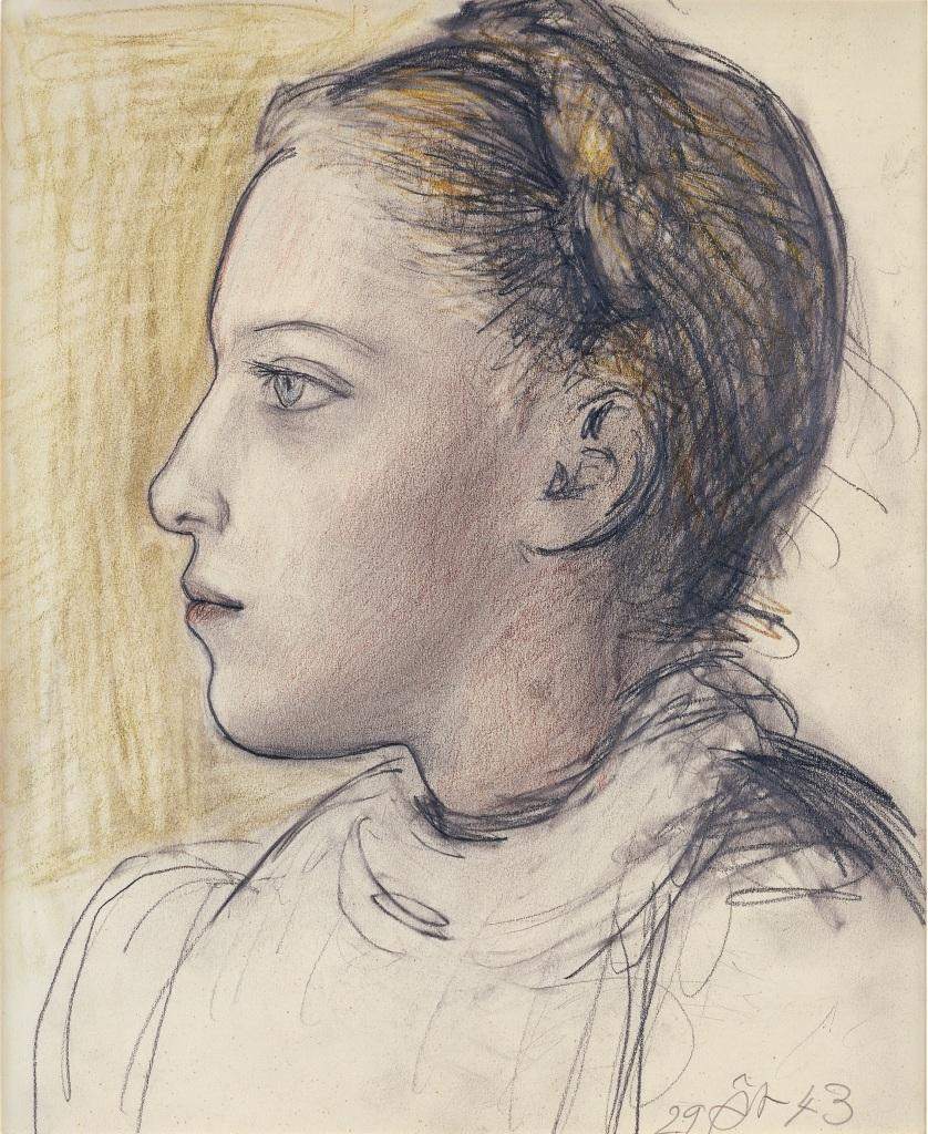 Pablo Picasso, Portrait de Maya de profil, 1943 - Exposition Picasso et Maya, Père et Fille à la Gagosian Gallery