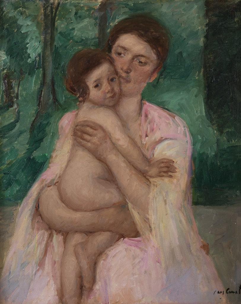 Femme et enfant devant une tablette où sont posés un broc et une cuvette