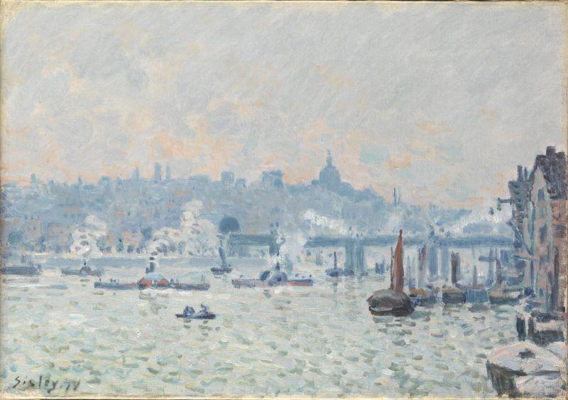 Alfred Sisley, Vue de la Tamise : le pont de Charing Cross, 1874