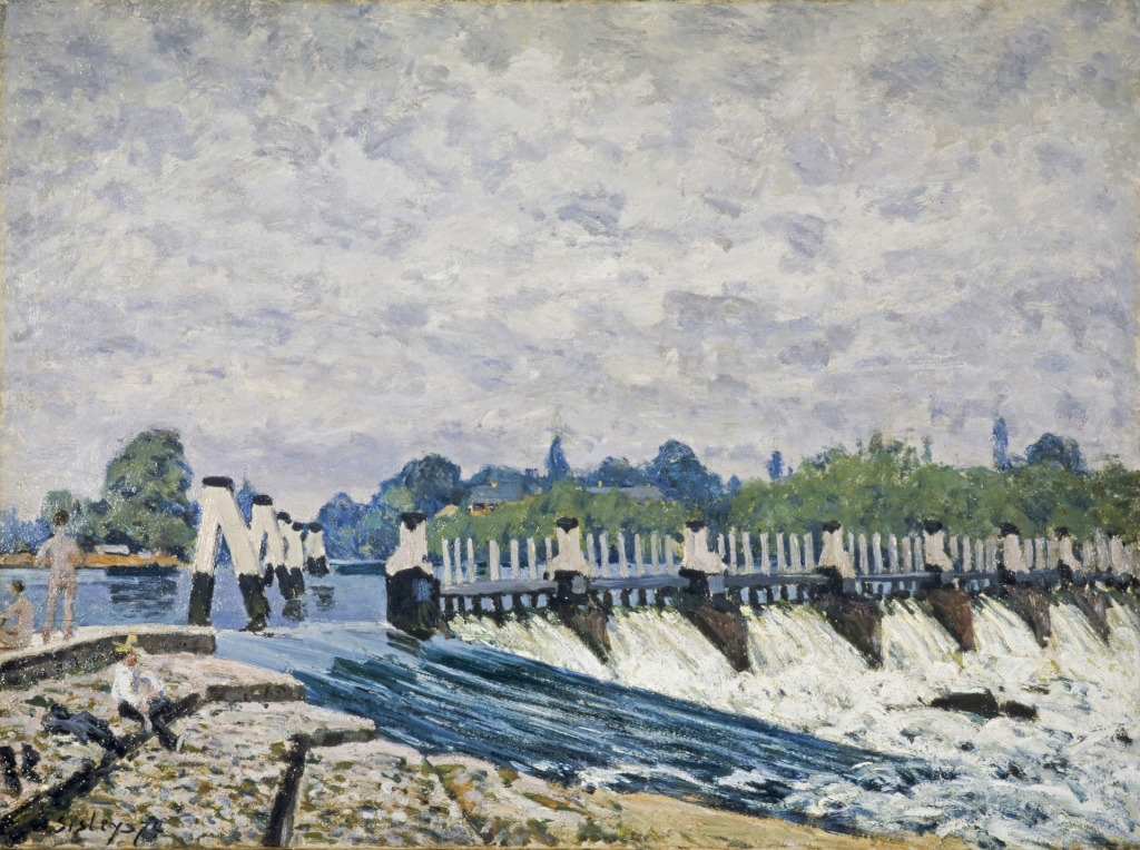 Alfred Sisley, Le Barrage de Molesey, Hampton Court, effet du matin, 1874