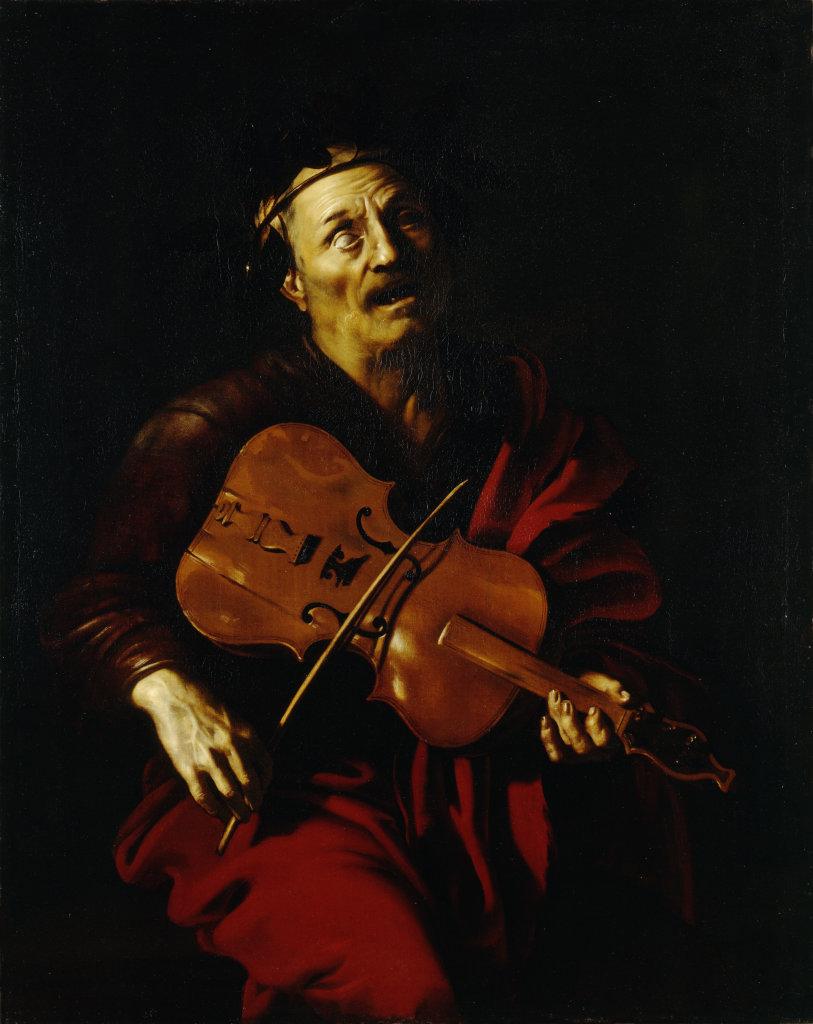 Nicolas Régnier, Homère jouant de la lira da braccio, vers 1620-1623, Musée d'Art de Nantes